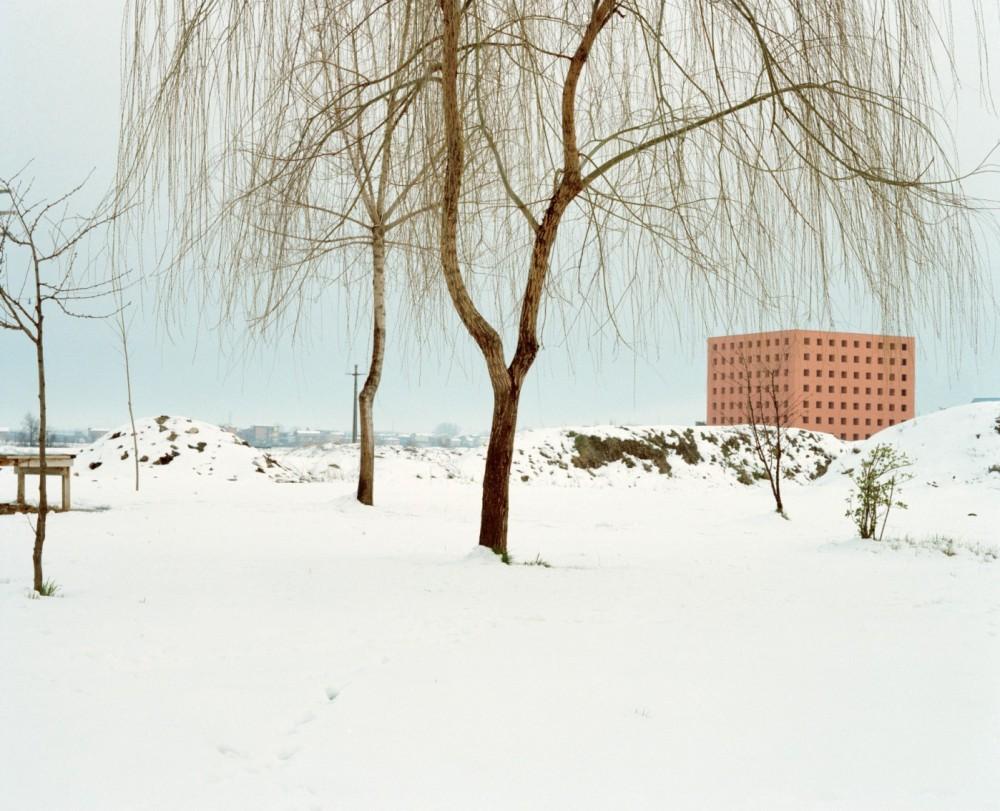 Cemetery of San Cataldo, Modena; the ossuary in winter. Photograph: Luigi Ghirri 1986