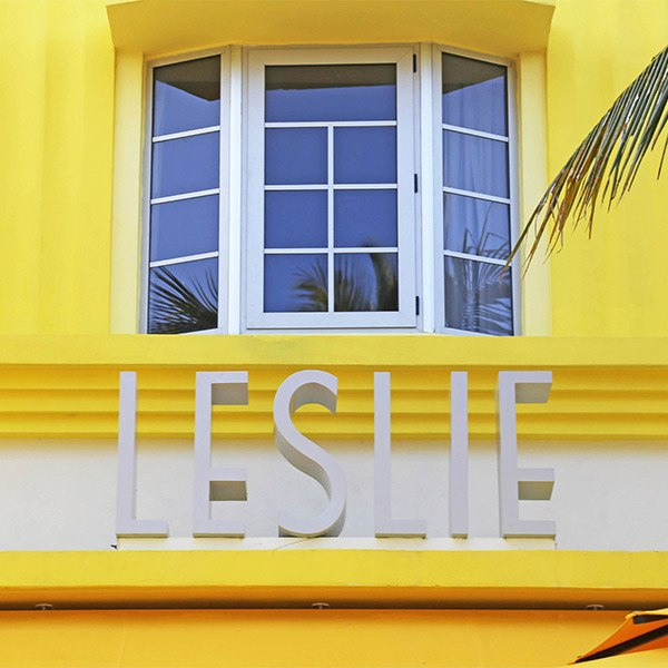 Art Deco signage at the Leslie Hotel in South Beach.