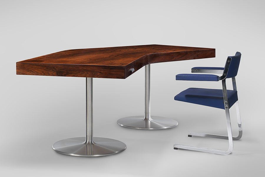 Desk, 1965, and Rigel chair, both by Joseph André Motte Demisch Danant