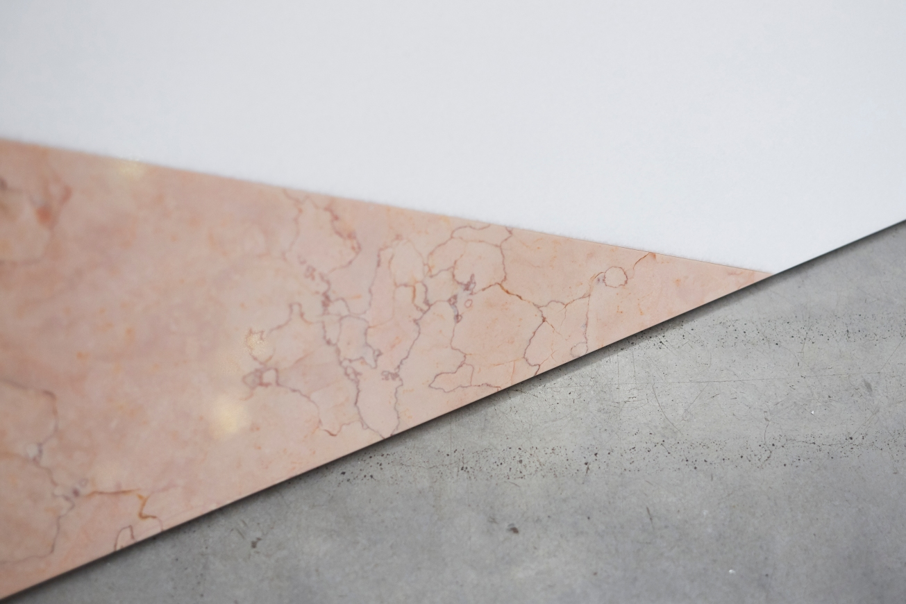 Rebecca Ward, elephantine (detail) , 2015, thasos white marble, yellow and pink egyptian stone, side 1, Courtesy the artist and Ronchini Gallery (1)