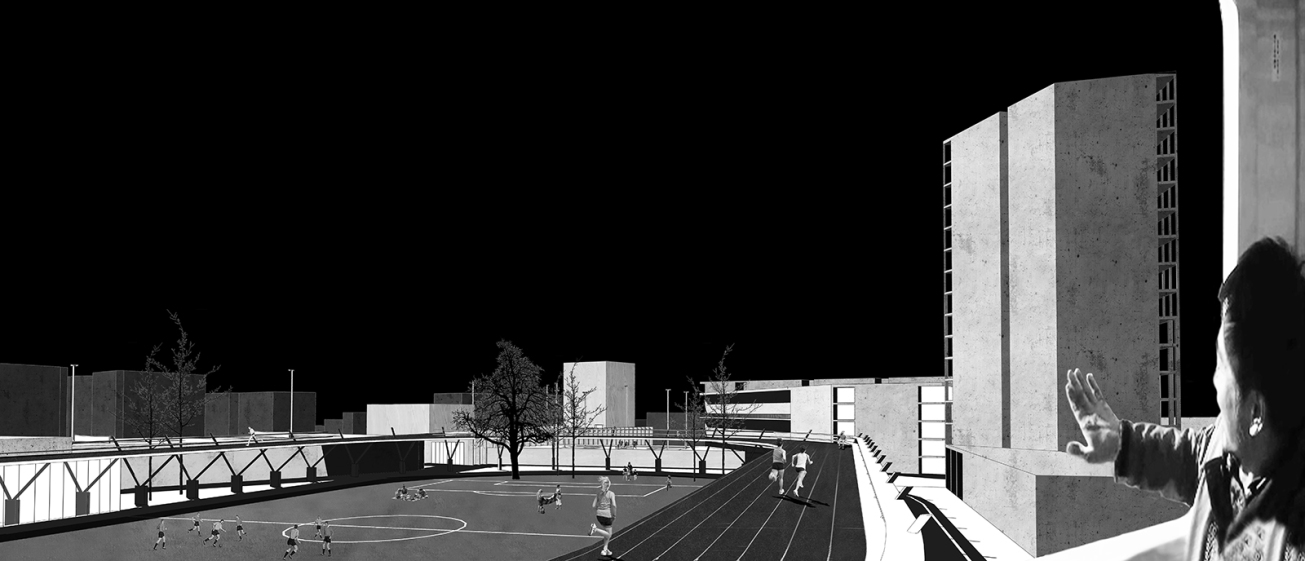 Issy Sport Center_Barre&Bouchetard_ENSAPLV_Diploma 2015_5-Train view