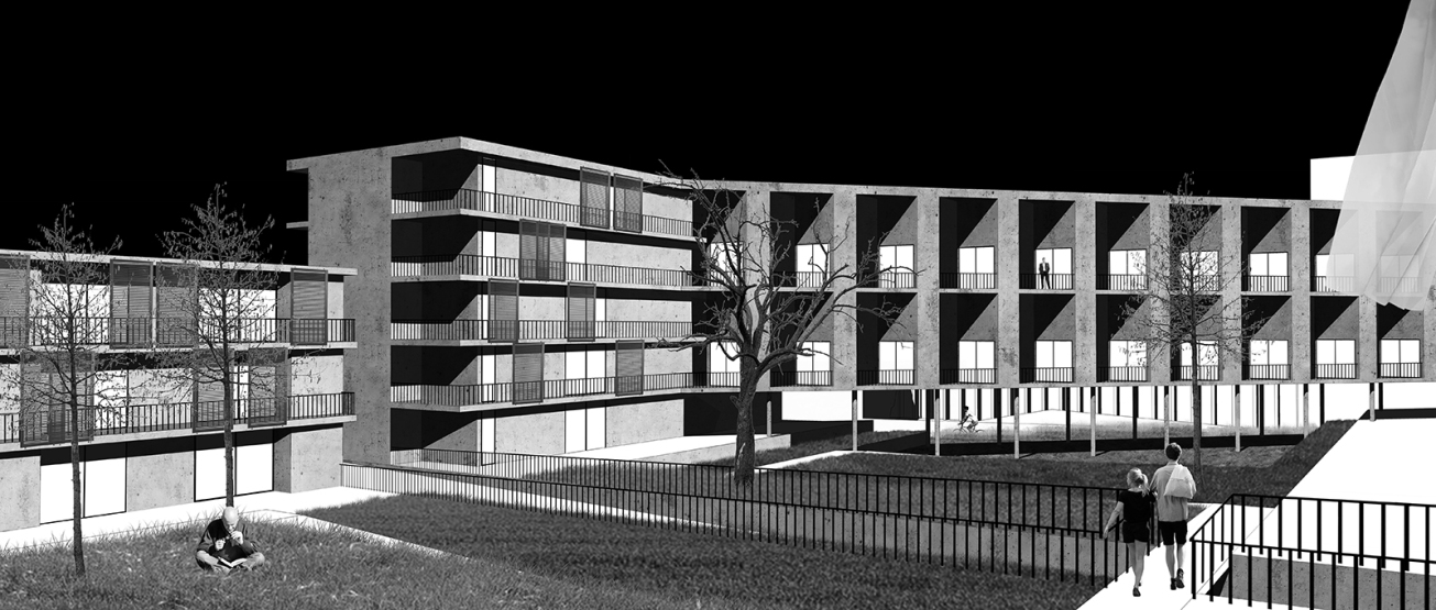 Issy Sport Center_Barre&Bouchetard_ENSAPLV_Diploma 2015_8-Housing view