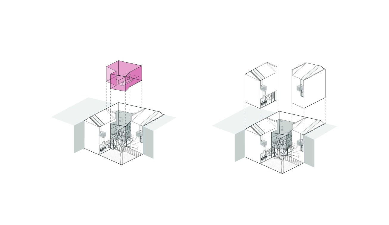 SYMBIOSIS_Negotiation space; scheme of 2 houses