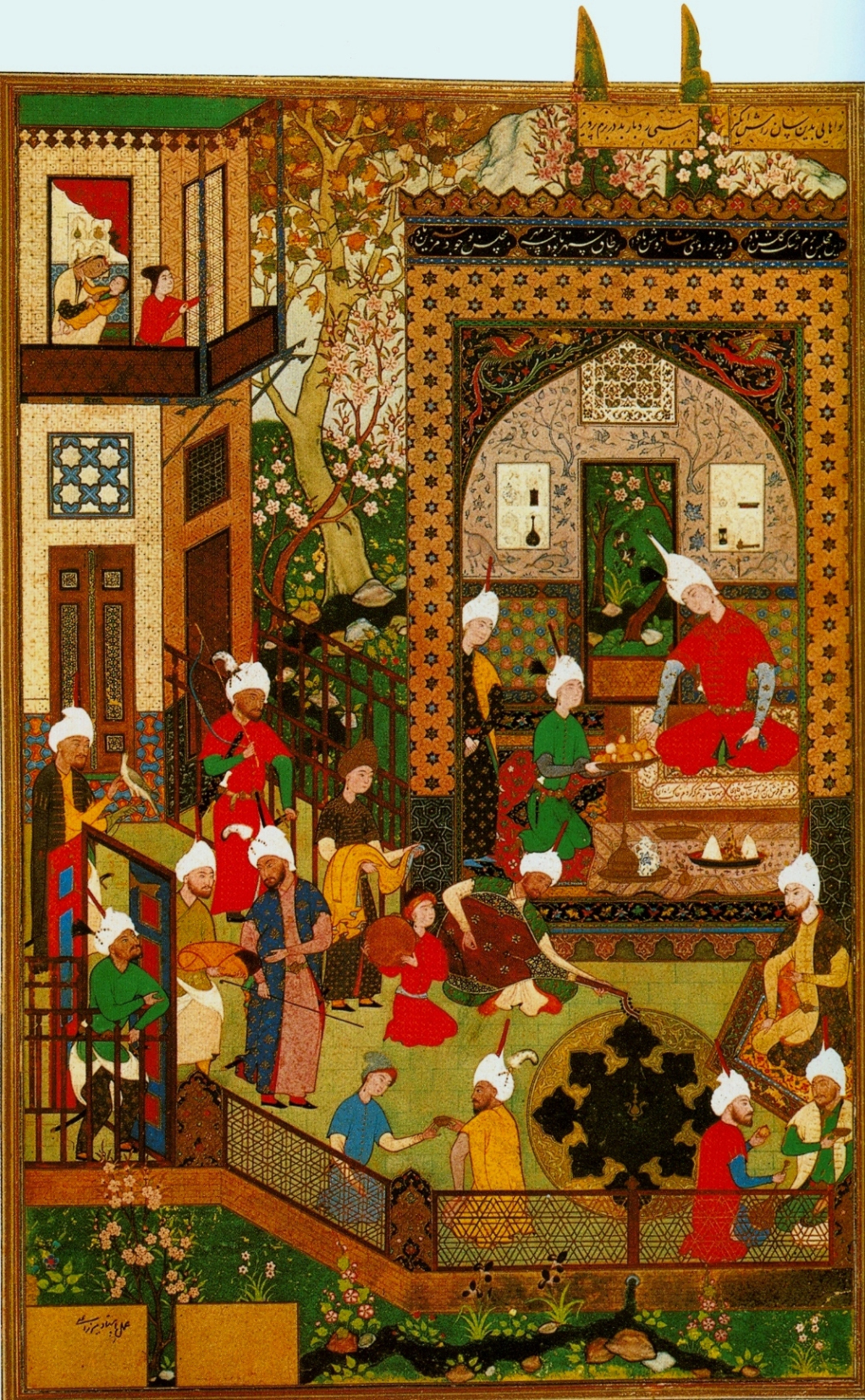 Persian Miniatur_Barbad Plays for Khusraw, 1539-43, British Library, London. Barbad was a musician under the rule of the Sassanid King Khusraw. Wikipedia [Public Domain]