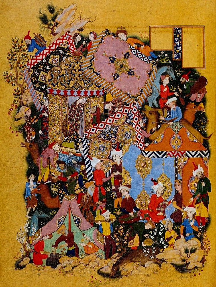 Majnun (at top wearing orange) spies on his beloved Layla, (standing in tent doorway). Layla-Majnun is a Persian tale of love similar to Romeo and Juliet. Wikipedia [Public Domain]