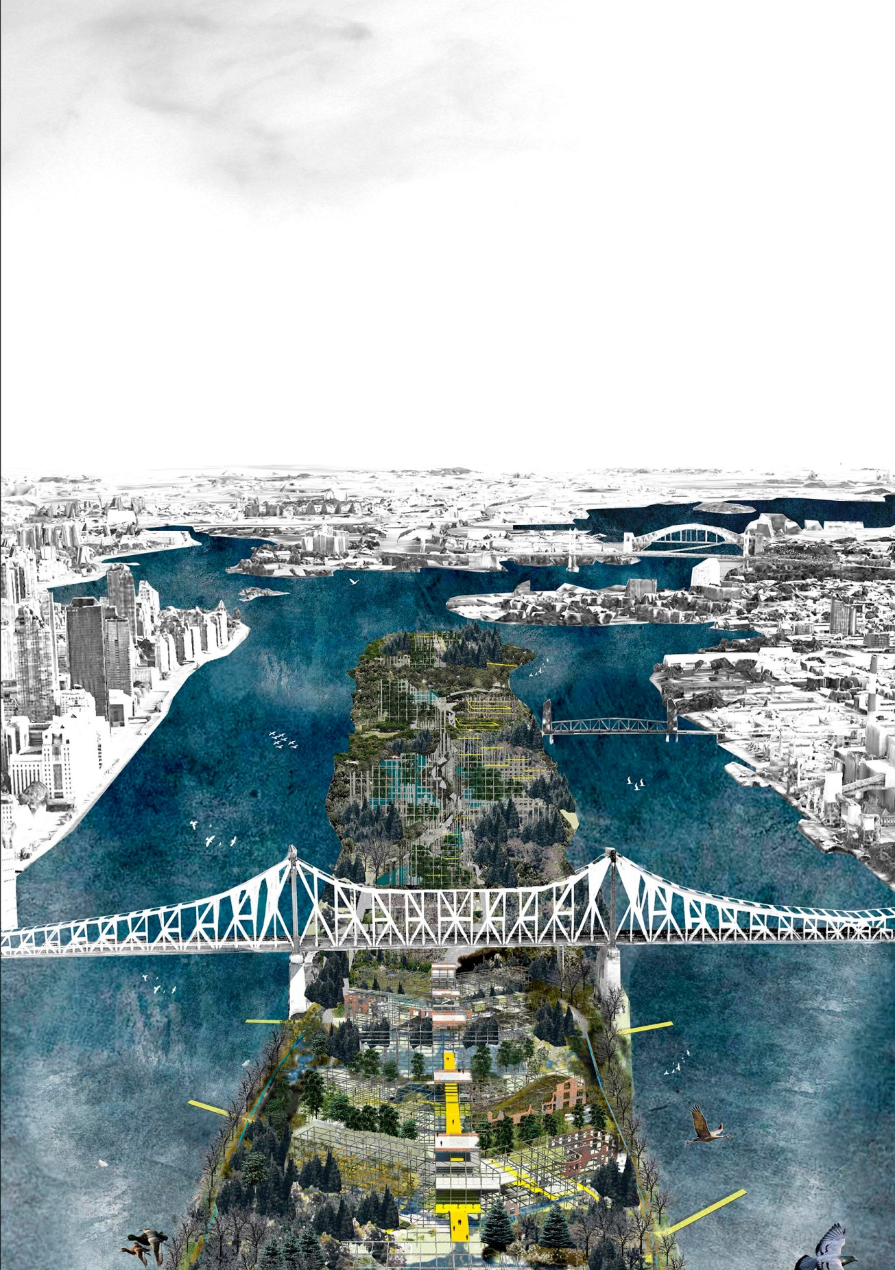 Roosevelt Island, management of the future ruins as landscape in motion, Laura Huerga, Final thesis project