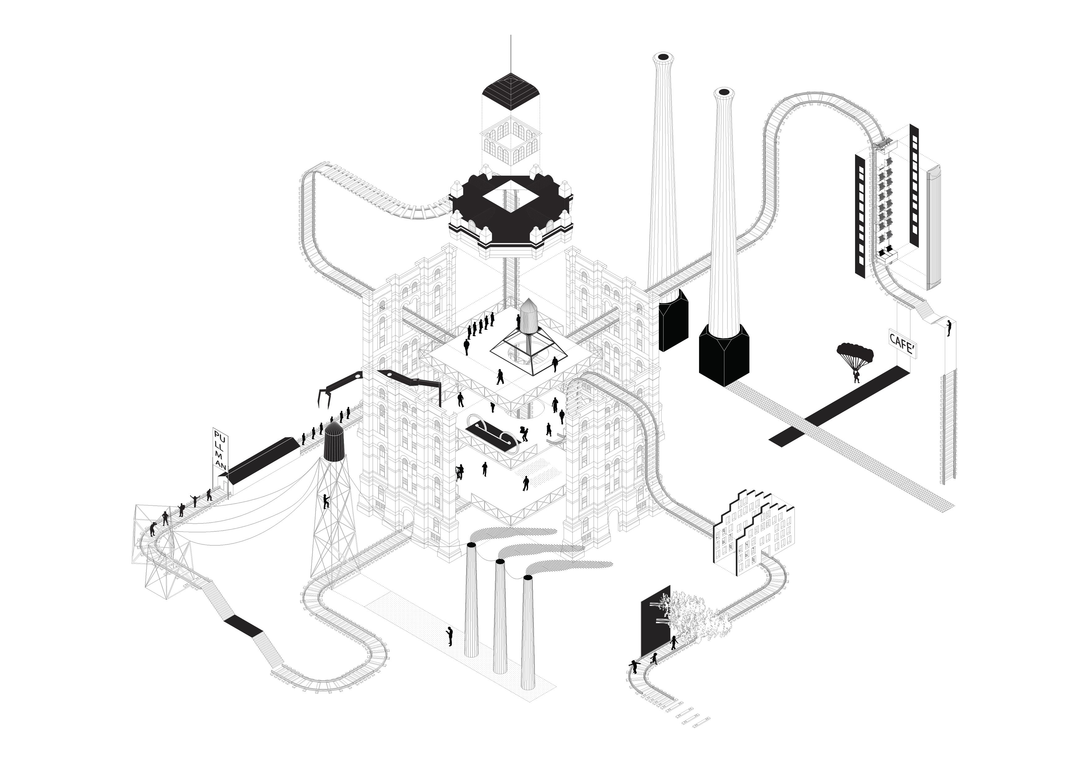 The Corporate City_Architecture of control_Axonometric diagram