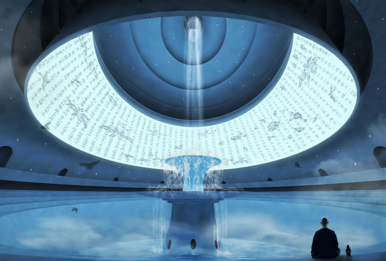 12_The multi-faith Main Hall of the Holy Mountain features a giant 360 degree LED screen surrounding a central waterfall created from the Kanda River water source.