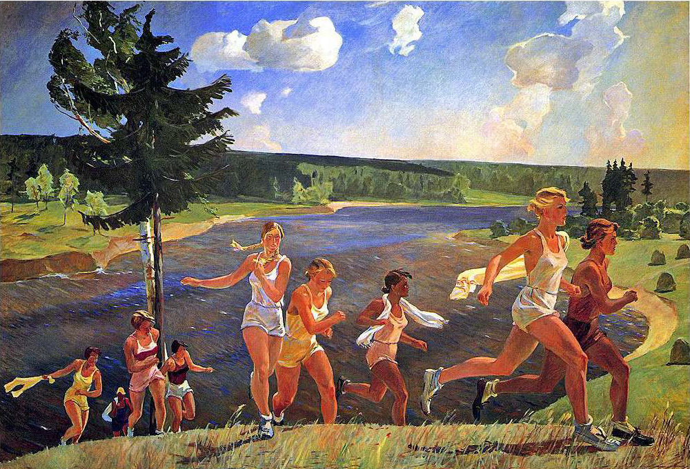 Aleksandr Deineka, The Wide Expanse (1944)Another example of Socialist Realism. Again- the painting does little in terms of experimental content or style, instead offering an idealized v