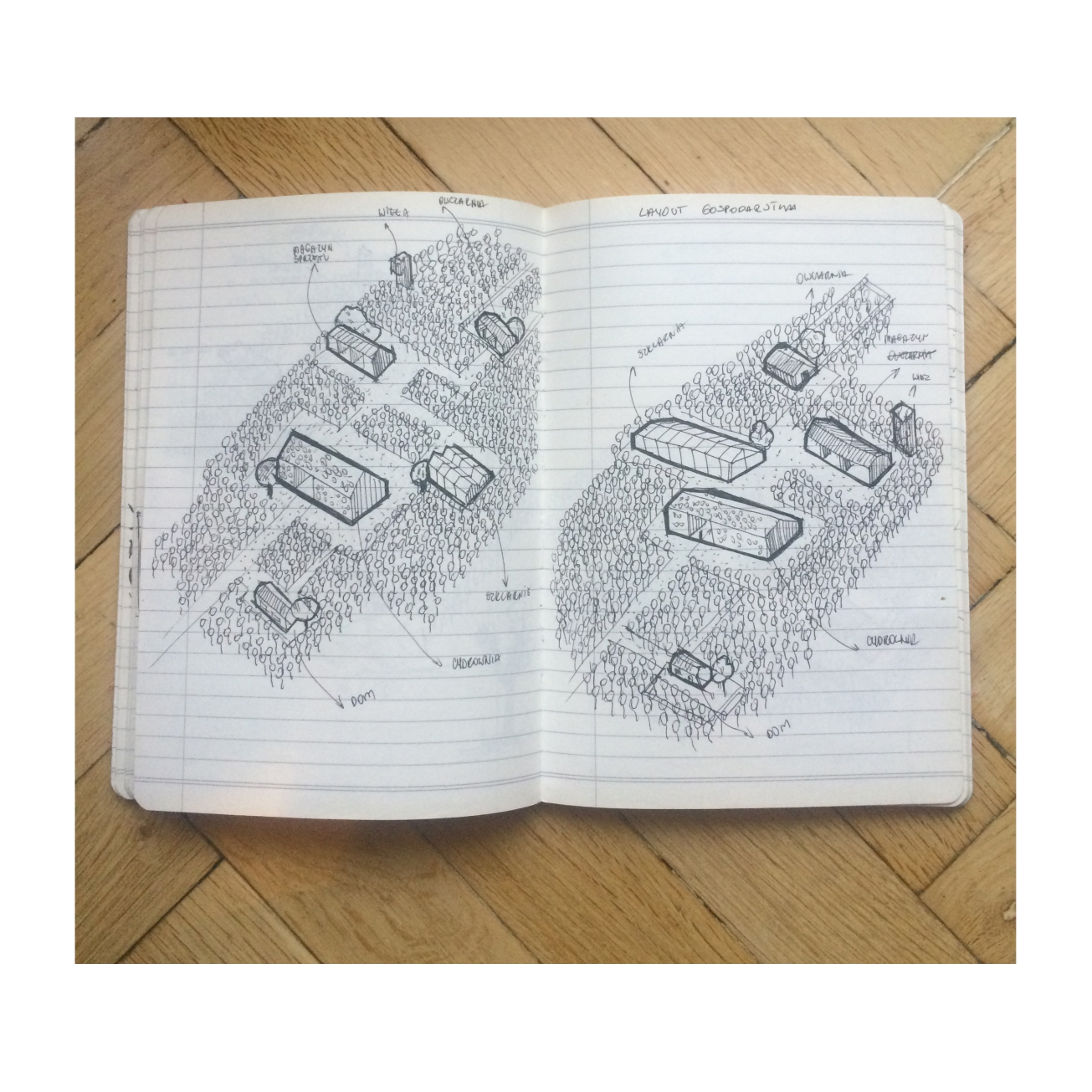 Orchard farm with cider factory,Sonia Dubois,student,4th year,University of Arts Poznan, bachelor of architecture_sketchbook_2