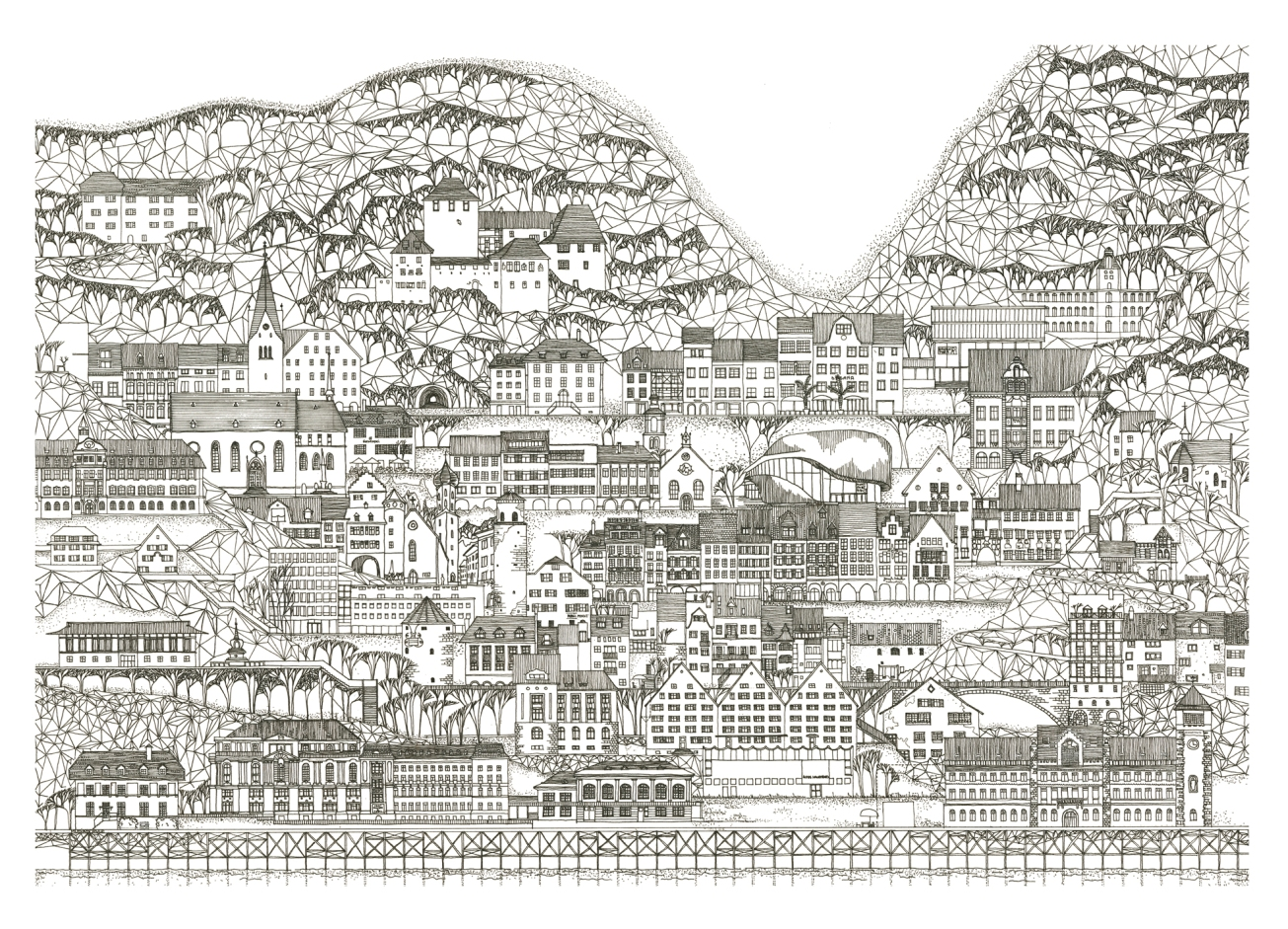 8 Feldkirch, Austria. A tribute to the city`s 800 Year Anniversary – 50x70cm Fineliner on paper