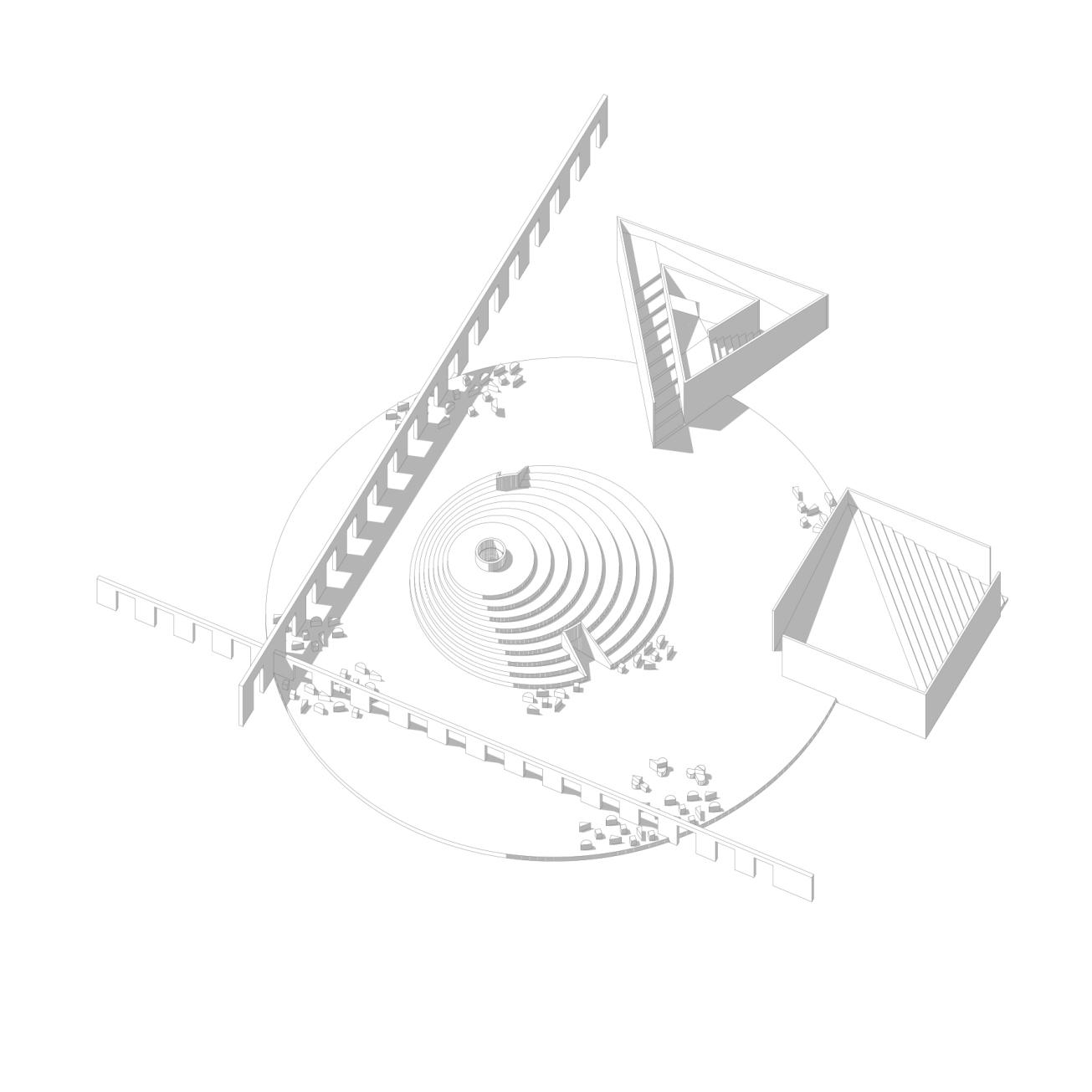 Playground1 . geometric composition . axonometry